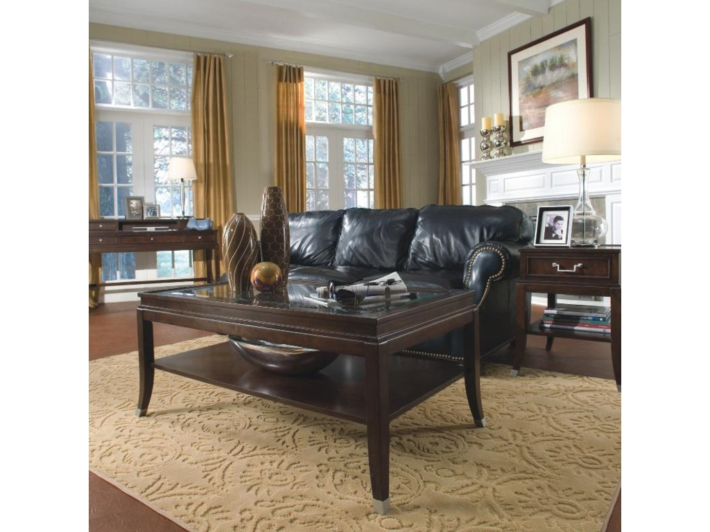 Shown in Room Setting with Sofa Desk and Rectangular End Table