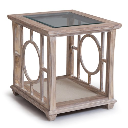 Belfort Select Lana Glass Top End Table with Shelf