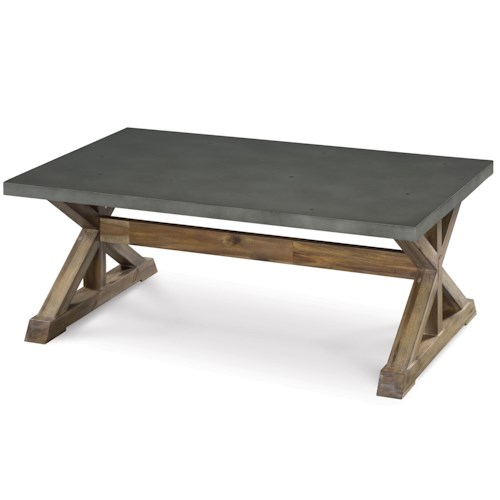 Magnussen Home Lybrook Rectangular Cocktail Table with Stone Top and Wooden Trestle Base