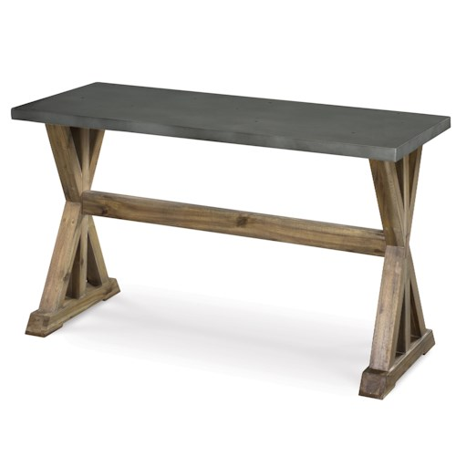 Magnussen Home Lybrook Rectangular Sofa Table with Stone Top and Wooden Trestle Base