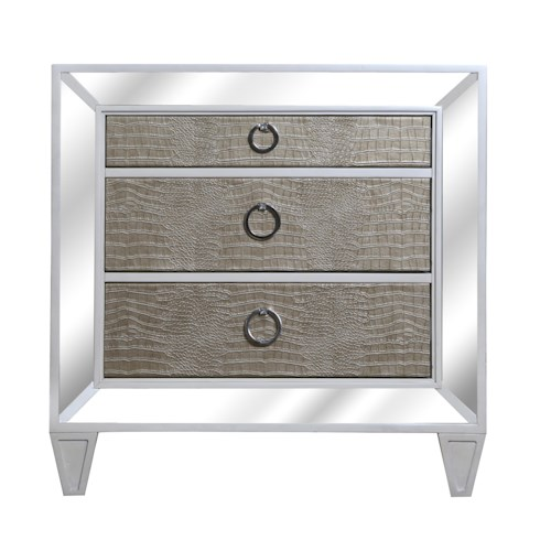 Vendor 2014 Miami Contemporary Old Hollywood Nightstand with Croc Upholstery and Antiqued Mirror