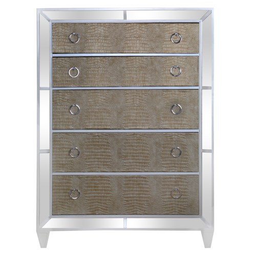 Magnussen Home Monroe Contemporary Old Hollywood Chest of Drawers with Croc Upholstery and Antiqued Mirror