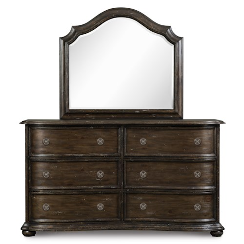 Magnussen Home Muirfield Bedroom Traditional Six Drawer Dresser and Shaped Mirror Set
