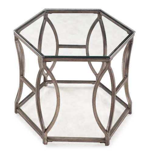 Magnussen Home Nevelson Hexagonal End Table with Geometric Metal Detail
