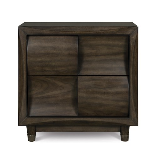 Magnussen Home Noma Drawer Nightstand With 2 Drawers and Metal Capped Feet