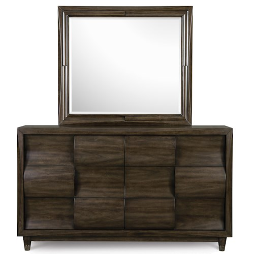 Magnussen Home Noma 3 Drawer Dresser with Capped Feet Mirror Set