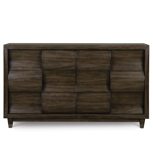 Magnussen Home Noma Drawer Dresser With Drawers and Concave Convex Detail