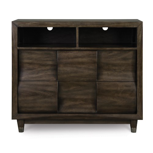 Magnussen Home Noma Media Chest with 2 Drawers and Concave Convex Detail