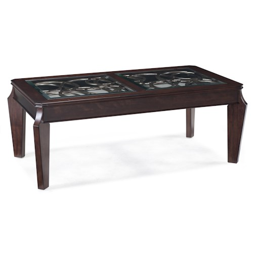 Magnussen Home Ombrio Rectangular Cocktail Table with Decorative Metal and Glass Inlay