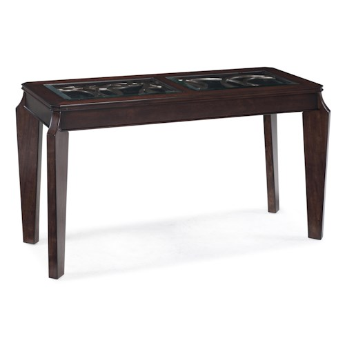 Magnussen Home Ombrio Rectangular Sofa Table with Decorative Metal and Glass Inlay