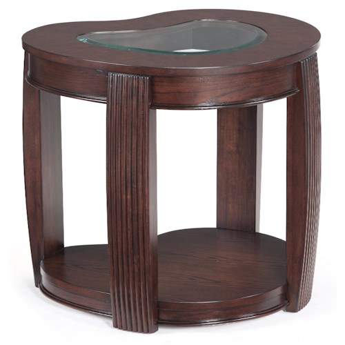Magnussen Home Ormond Contemporary End Table with Inset Glass Top
