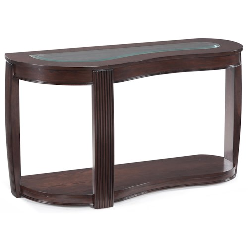 Magnussen Home Ormond Contemporary Shaped Sofa Table with Inset Glass Top