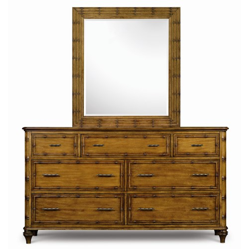 Magnussen Home Palm Bay Look of Bamboo Accented Drawer Dresser & Landscape Mirror