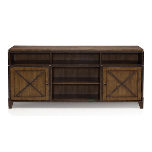 Magnussen Home Pinebrook Rustic TV Console Table with Wire Management and Adjustable Shelves