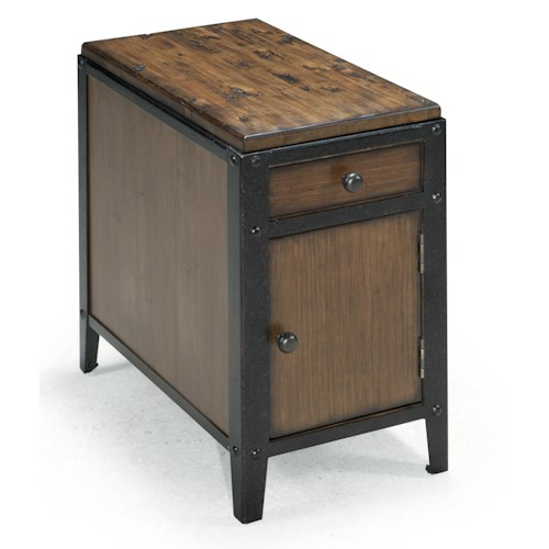 Magnussen Home Pinebrook Chairside Door End Table with Rustic Iron Legs
