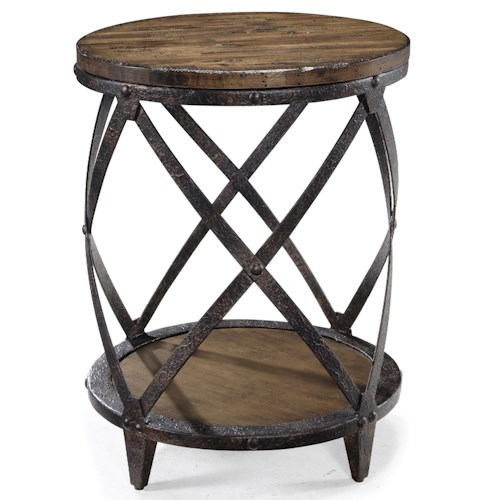 Magnussen Home Pinebrook Round Accent End Table with Rustic Iron Legs