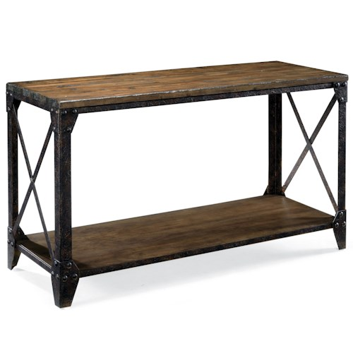 Magnussen Home Pinebrook Rectangular Sofa Table with Rustic Iron Legs