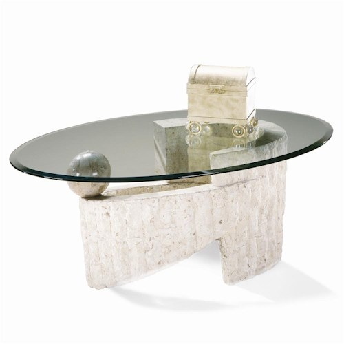 Magnussen Home Ponte Vedra Contemporary Oval Glass Cocktail Table