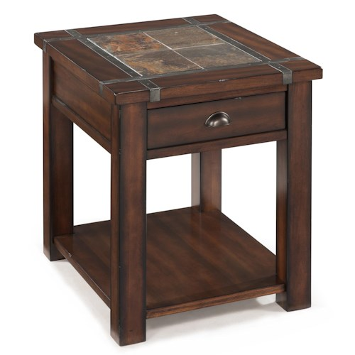 Magnussen Home Roanoke Rectangular End Table With Drawer and Shelf
