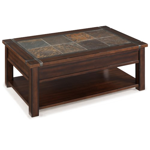 Magnussen Home Roanoke Rectangular Lift Top Cocktail Table With Casters and Shelf