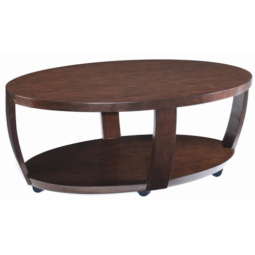 Magnussen Home Sotto Oval Cocktail Table with Casters