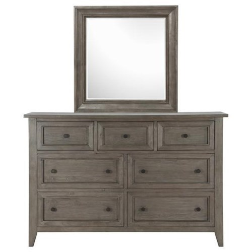Belfort Select Talbot Dresser with Seven Dovetail Drawers and Mirror with Wood Frame