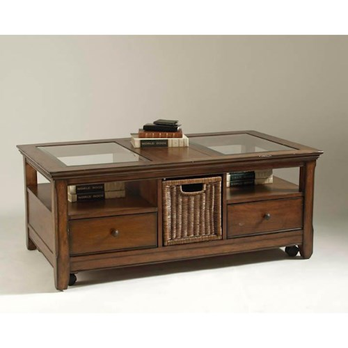 Magnussen Home Tanner Storage Cocktail Table with Wicker Basket