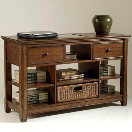 Magnussen Home Tanner Rectangular Sofa Table with Wicker Basket