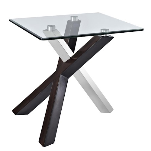 Magnussen Home Verge Rectangular End Table with Glass Top and Chrome Legs