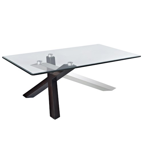 Magnussen Home Verge Rectangular Cocktail Table with Glass Top and Chrome Legs