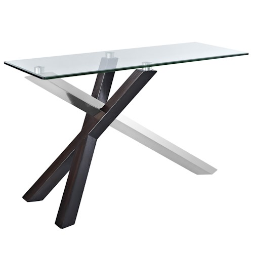 Magnussen Home Verge Rectangular Sofa Table with Glass Top and Chrome Legs