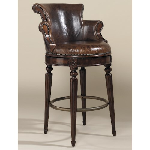 Maitland Smith Bar Stools Aged Regency Finished Mahogany
