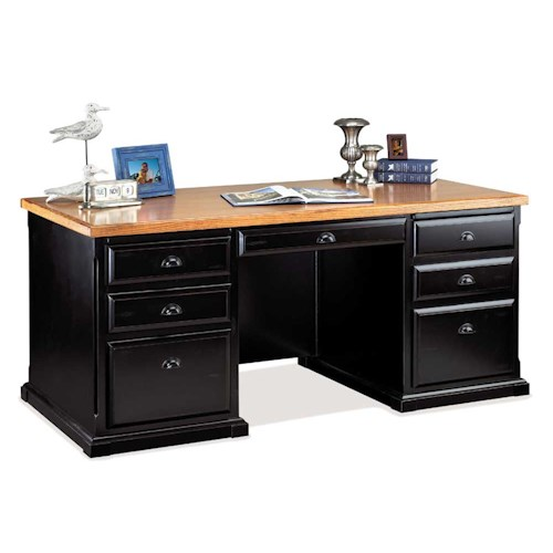 kathy ireland Home by Martin Southampton Double Pedestal Executive Desk with Two Dictation Trays
