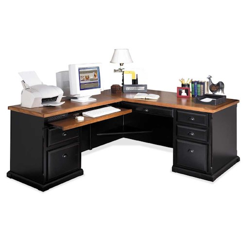 kathy ireland Home by Martin Southampton L-Shaped Executive Desk with Left Facing Keyboard Return