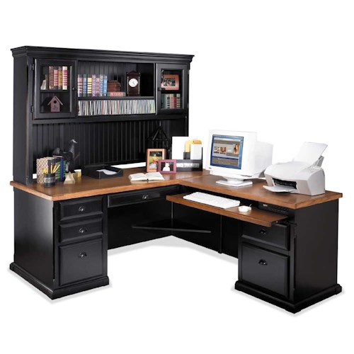 kathy ireland Home by Martin Southampton L-Shaped Executive Desk with Right Facing Return and Deluxe Hutch
