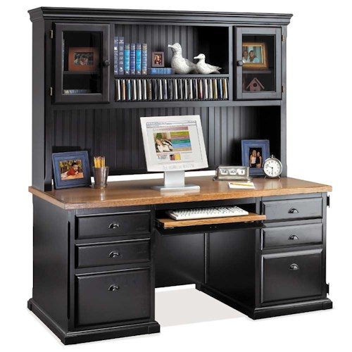 kathy ireland Home by Martin Southampton Double Pedestal Computer Desk and Deluxe Hutch