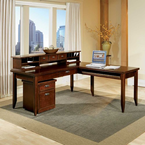 kathy ireland Home by Martin Tribeca Loft L-Shaped Writing Desk with Return and Hutch