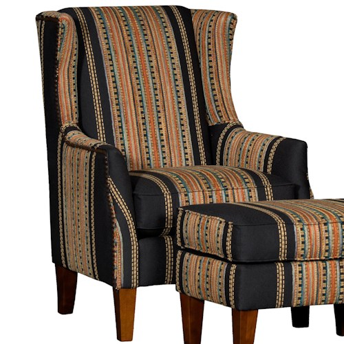 Mayo 8840 Upholstered Wing Chair w/ Tapered Legs