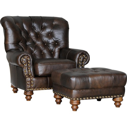 Mayo 931 Traditional Chair and Ottoman with Tufted Seat and Back