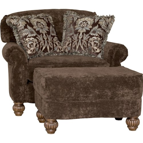 Mayo 2780 Traditional Chair and Ottoman with Fluted Spool Legs