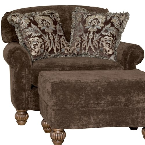 Mayo 2780 Traditional Upholstered Chair with Fluted Spool Legs