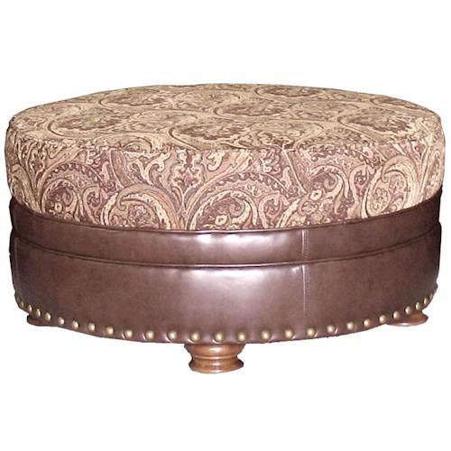 Mayo 591 Traditional Round Ottoman with Spool Legs
