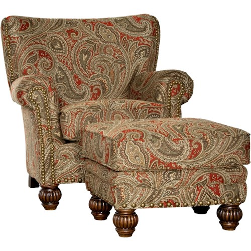 Mayo 9730 Traditional Chair and Ottoman with Fluted Spool Legs