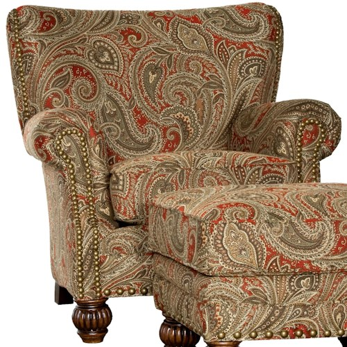 Mayo 9730 Traditional Upholstered Chair with Fluted Spool Legs