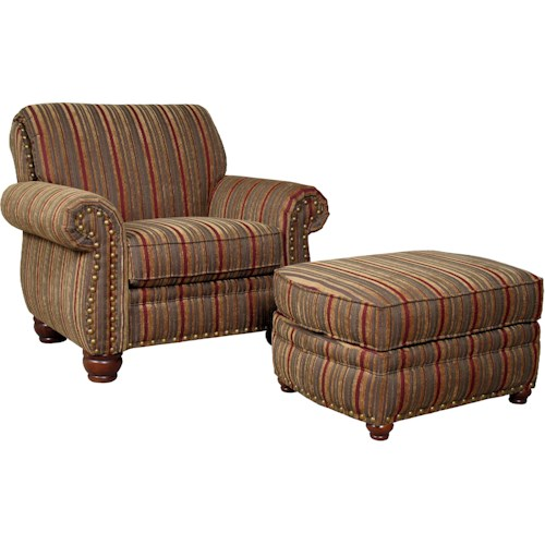 Mayo 9780 Traditional Chair and Ottoman with Exposed Wood Spool Legs