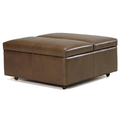 BeModern Storage Ottoman Modern Storage Cocktail Table with Small Wheel Casters