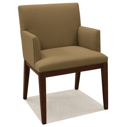 BeModern Dining Chairs Upholstered Dining Arm Chair with Wood Legs