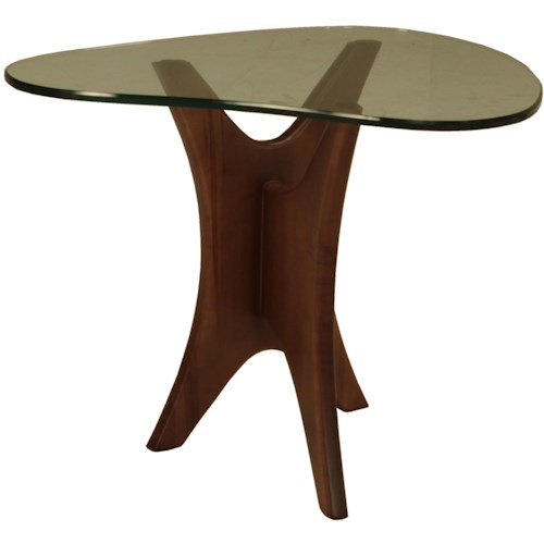 BeModern Occasional Tables End Table with Boomerang-Shaped Beveled Glass Top and Unique Wood Base