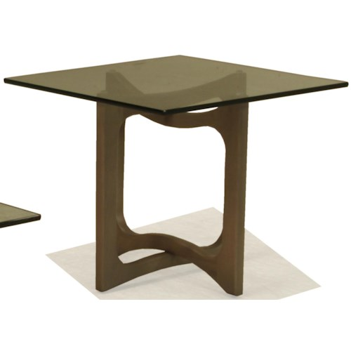 BeModern Occasional Tables Square End Table with Open Wood Base and Smoky Glass Top