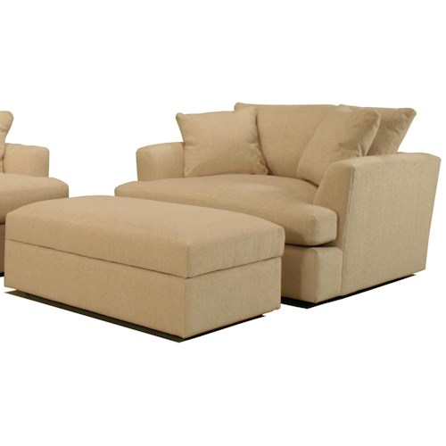 BeModern Cirrus Casual Contemporary Chair and a Half with Rectangular Storage Ottoman